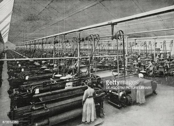 First weaving room in Rivetti woollen mills Biella Italy from L'Illustrazione Italiana Year XLIV No 13 April 1 1917