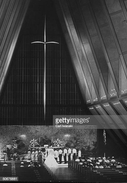 First wedding at Air Force Academy chapel following graduation