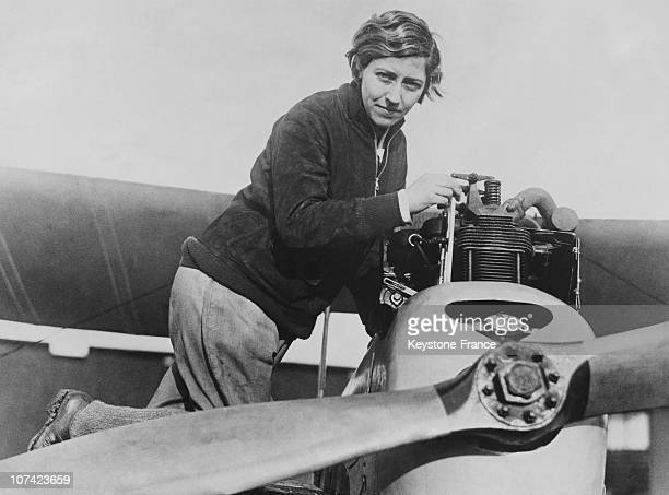 First Woman Air Engineer Amy Johnson Fixing A Propeller In London