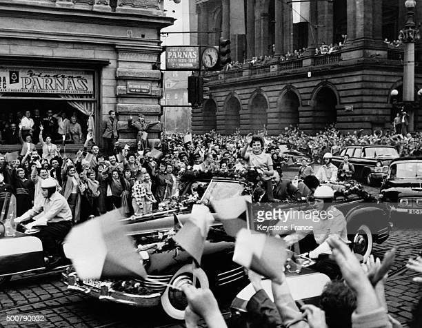 First woman cosmonaut Russian Valentina Tereshkova cheered by a huge crowd in the streets of Prague on August 20 1963 in Prague Czech Republic