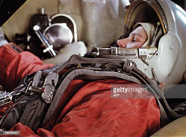 First woman in space Soviet cosmonaut Valentina Tereshkova is seen during a training session aboard a Vostok spacecraft simulator on January 17 1964...