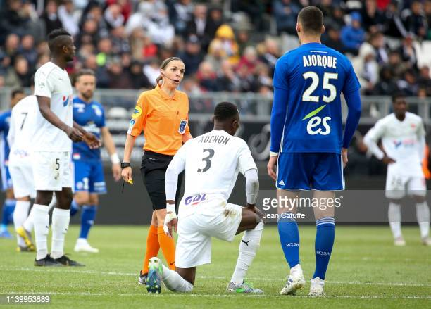 First woman ro referee a Ligue 1 match Stephanie Frappart during the French Ligue 1 match between Amiens SC and RC Strasbourg at Stade de la Licorne...
