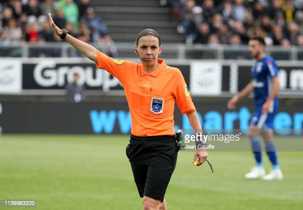 First woman to referee a Ligue 1 match Stephanie Frappart during the French Ligue 1 match between Amiens SC and RC Strasbourg at Stade de la Licorne...