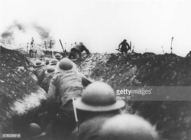 First World War 1916 English soldiers leaving a trench to attack on the Somme