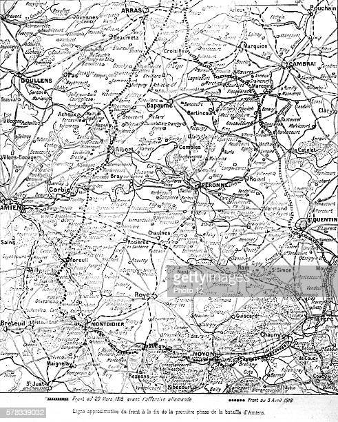 First World War Approximate front line at the end of the first phase of the Battle of Amiens