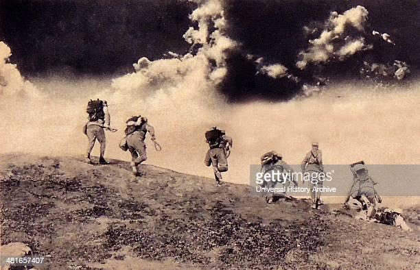 First World War Austrian soldiers charging down on an Italian patrol