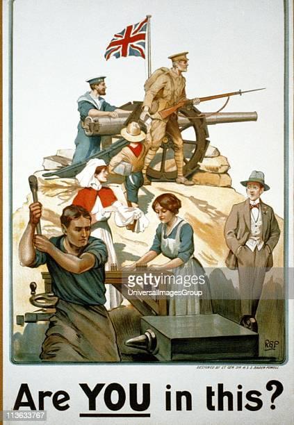 First World War British recruitment poster designed by Robert Baden Powell circa 1915