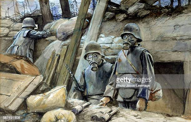 German soldiers wearing trench armor and gas masks aout 1917 Watercolour painting by Francois Flameng August 1915 Dim 03x048 m Army Museum Paris