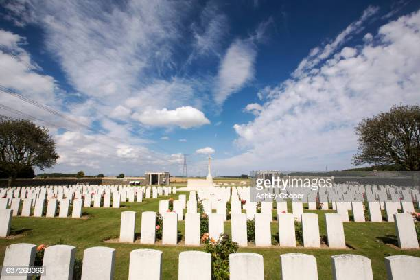first world war graves at a cemetary on the somme, northern france. - war stock pictures, royalty-free photos & images