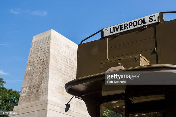 First World War London Battle Bus which carried troops to Somme is seen beside the Guards Memorial at Horse Guards Parade on July 1, 2015 in London,...