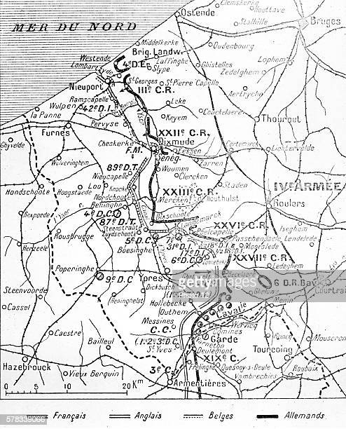 First World War Map indicating the French English Belgian and German positions on Flanders front 27th October 1914