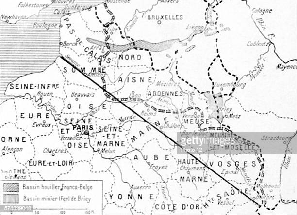 First World War Map of German claims in the NorthEast of France The line joining the mouth of the river Somme in Belfort marks the boundary of...