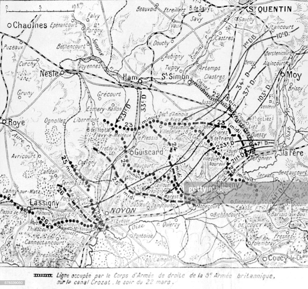 Map of the battle of oise pictures getty images first world war map of the battle of oise the advance of german divisions gumiabroncs Images