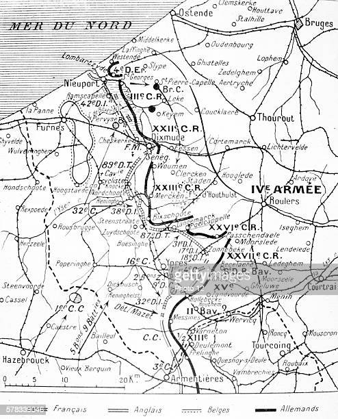 First World War Map of the front line at Flanders 1st November 1914