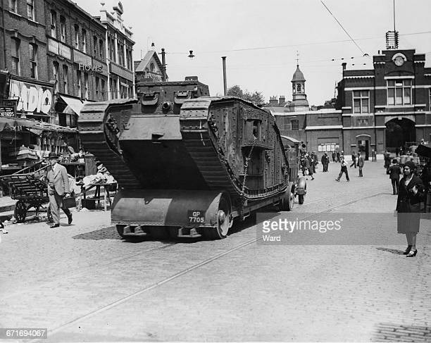 A First World War Mark IV tank is transported along Beresford Square from the Rotunda Museum where it had been on public display to the Royal...