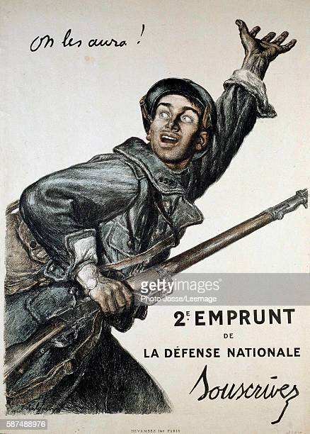 poster of Abel Faivre for war loan a soldier encourages people to subscribe to the war loan Private collection