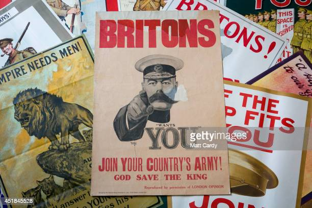 First World War recruitment posters including the Alfred Leete's Lord Kitchener's 'Wants You' original recruiting poster from 1914 that is estimated...