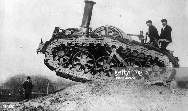 First World War tanks were descendants of vehicles like this early caterpillartrack farm machine built by Rustin and Hornsby of Lincoln and used in...