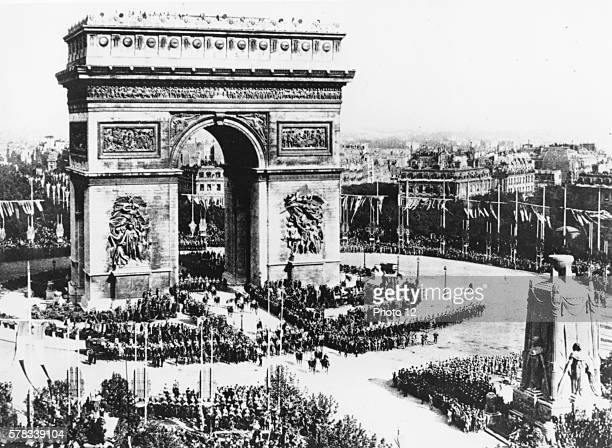 First World War Victory celebrations Parading under the Arc de Triomphe 14th July 1919