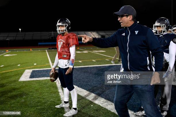 First year coach Ed McCaffrey working with the quarterbacks and receivers during practice at Valor Christian High School November 1 2018 in Highlands...