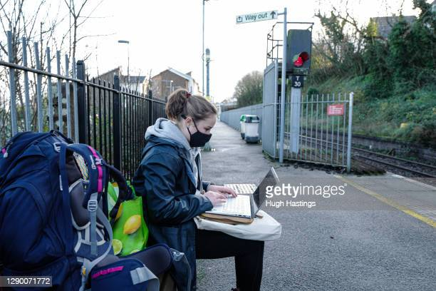 First year student at Falmouth University Helena Crate returning home to Suffolk from the Falmouth University Penryn campus on December 7, 2020 in...