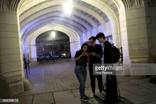First year Yale University undergraduate students Sophie Huttner James Barringer and Fernando Trejos Suarez discuss the U.S. Senate Judiciary...