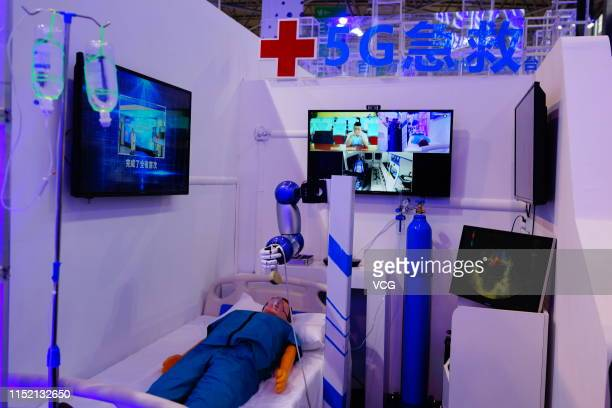 First-aid station is seen on the opening day of China International Big Data Industry Expo 2019 at Guiyang International Conference and Exhibition...