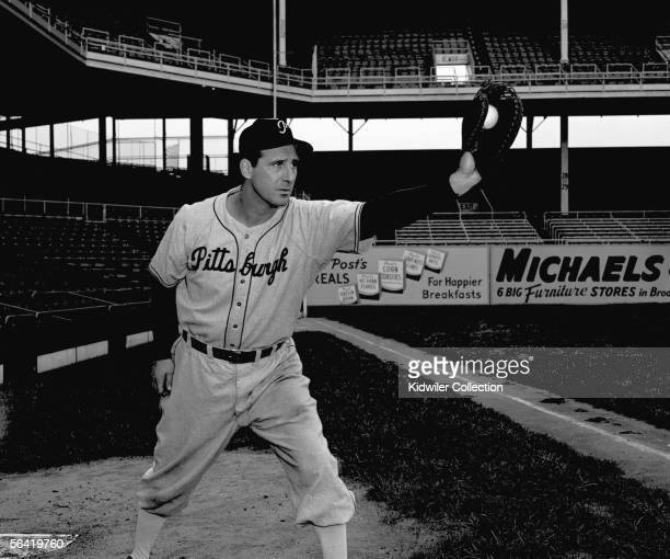 Firstbaseman Hank Greenberg of the Pittsburgh Pirates poses for a portrait prior to a game in 1947 against the Brooklyn Dodgers at Ebbets Field in...