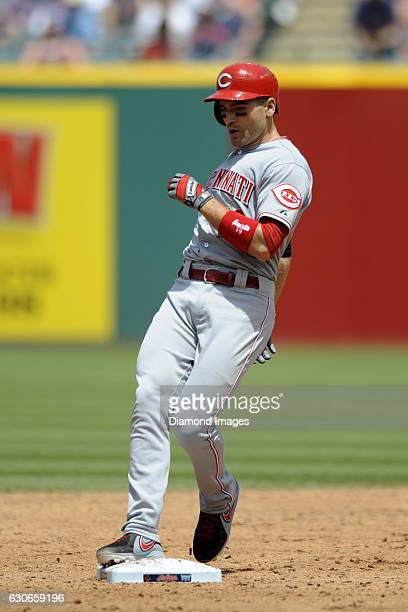 Firstbaseman Joey Votto of the Cincinnati Reds tags second base after hitting a double during a game against the Cleveland Indians on May 24 2015 at...