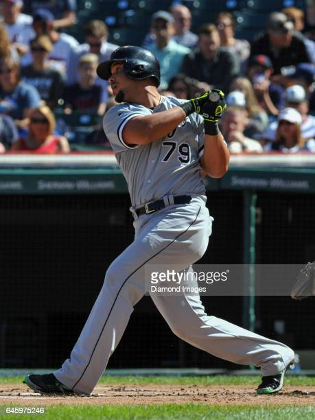 Firstbaseman Jose Abreu of the Chicago White Sox bats during a game against the Cleveland Indians on September 25 2016 at Progressive Field in...