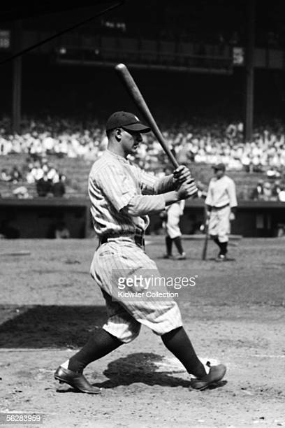 Firstbaseman Lou Gehrig, of the New York Yankees, takes batting practice prior to a game in 1927 at Yankee Stadium in New York, New York.