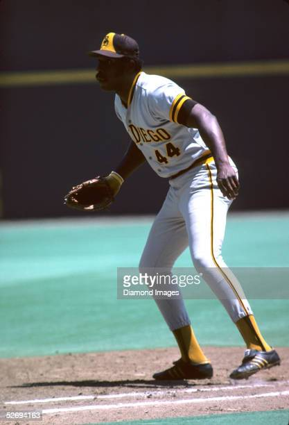 Firstbaseman Willie McCovey of the San Diego Padres prepares to field his position during a game in July 1975 against the Cincinnati Reds at...