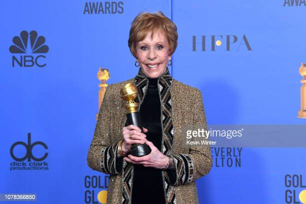 Firstever Golden Globe television special achievement award named after her recipient actress Carol Burnett poses in the press room during the 76th...