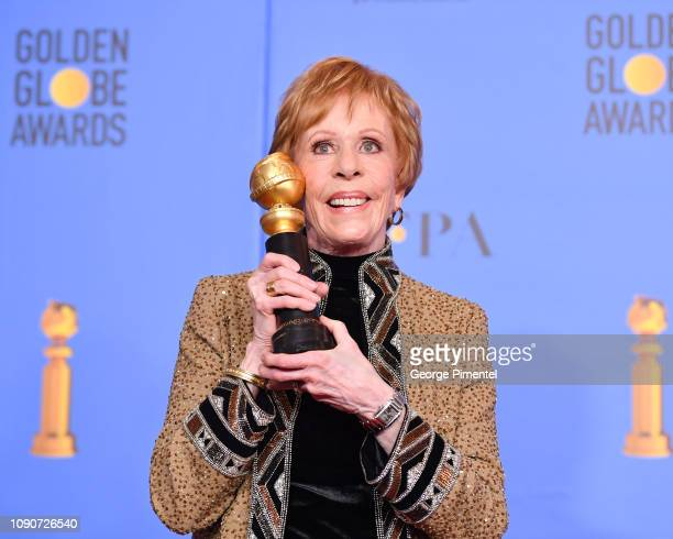 Firstever Golden Globe television special achievement award named after her recipient actress Carol Burnett poses in the press room during the 75th...