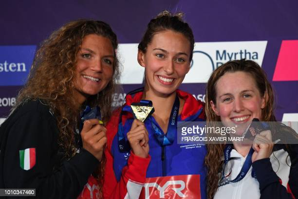 Firstplaced Frances Fantine Lesaffre secondplaced Italys Ilaria Cusinato and thirdplaced Britains Hannah Miley pose on the podium during the medal...