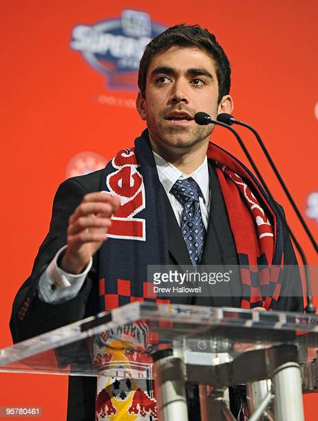 Firstround draft pick Austin Da Luz of the New York Red Bulls addresses the crowd during the 2010 MLS SuperDraft on January 14 2010 at the...