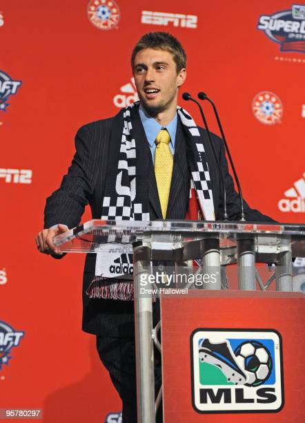 Firstround draft pick Blair Gavin of Chivas USA addresses the crowd during the 2010 MLS SuperDraft on January 14 2010 at the Pennsylvania Convention...
