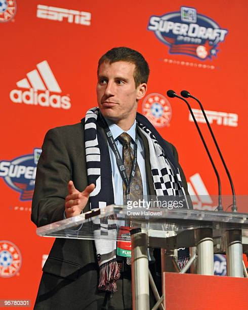 Firstround draft pick Corben Bone of Chicago Fire addresses the crowd during the 2010 MLS SuperDraft on January 14 2010 at the Pennsylvania...
