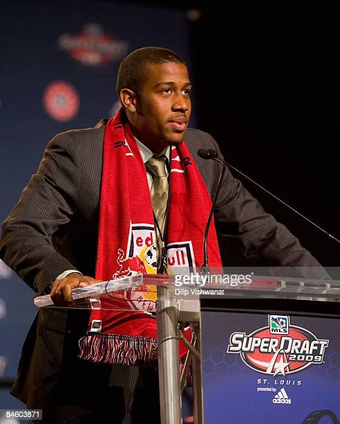 Firstround draft pick Jeremy Hall of the New York Red Bulls addresses the audience during the 2009 MLS Super Draft at the St Louis Convention Center...