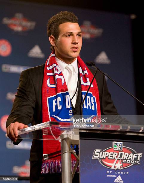 First-round draft pick Peri Marosevic of FC Dallas addresses the audience during the MLS 2009 Super Draft at the St. Louis Convention Center on...