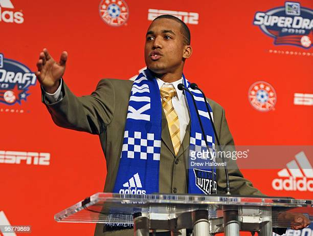 Firstround draft pick Teal Bunbury of the Kansas City Wizards addresses the crowd during the 2010 MLS SuperDraft on January 14 2010 at the...