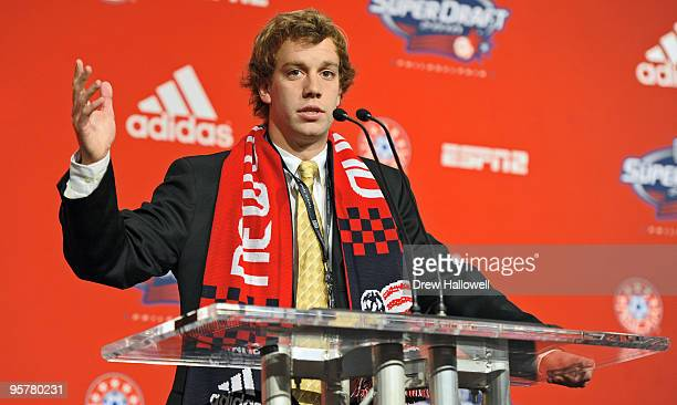 Firstround draft pick Zack Schilawski of the New England Revolution addresses the audience during the 2010 MLS SuperDraft on January 14 2010 at the...