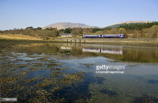 FirstScotrail 156 sprinter train at Loch Eil on way to Mallaig Lochaber Scotland United Kingdom