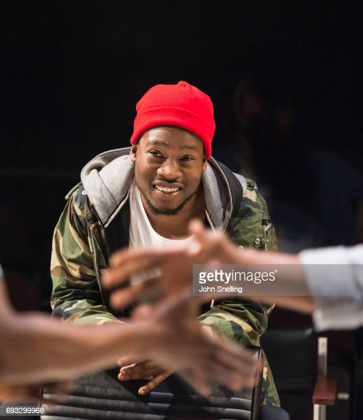 """Fisayo Akinade as Samuel performs on stage in a New Play """"Barber Shop Chronicles"""" in the Dorfman theatre at The National Theatre on June 6, 2017 in..."""