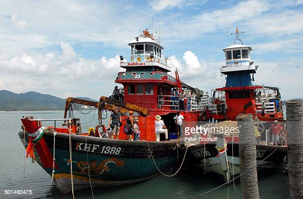 Fischerboote am Anlegesteg Fischerdorf bei Pantai Cenang Insel Langkawi Malaysia Asien Fischerboot Boot Meer Reise NB DIG PNr 1836/2011
