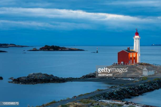 fisgard lighthouse in victoria bc - victoria canada stock pictures, royalty-free photos & images