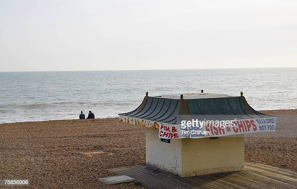 Fish and chip shop on Brighton beach out of season South Coast of England United Kingdom