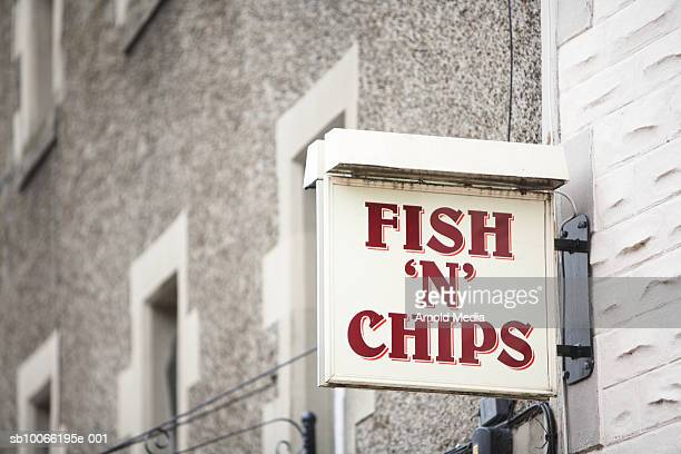 Fish and chips bar information sign, close-up