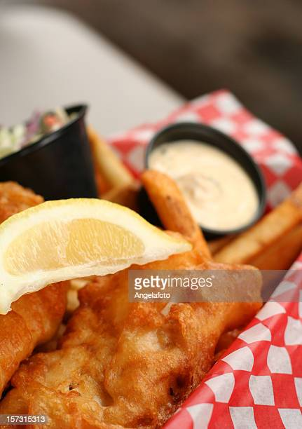 Fish and Chips Detail with Lemon Slice, Cream