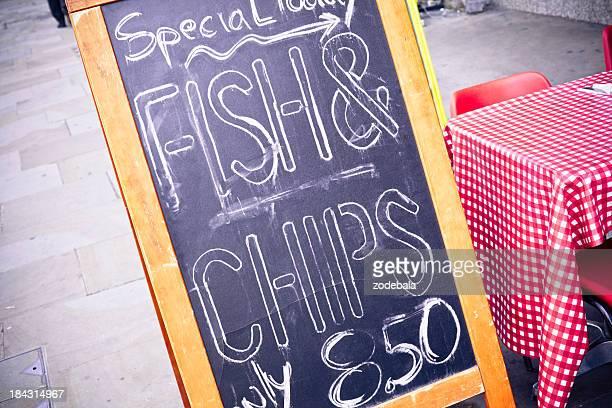 Fish-and-Chips-Menü, London, GB